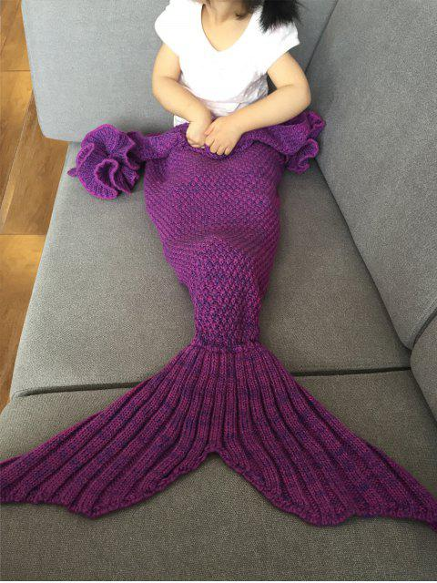 latest Knitted Falbala Mermaid Tail Blanket - VIOLET  Mobile