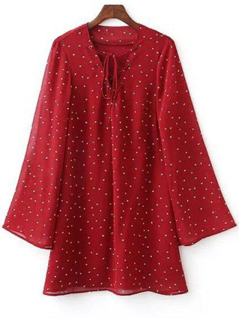 hot Lace-Up Stars Print Red Dress - RED L Mobile