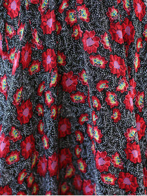 new Floral Print Midi Dress With Sleeves - RED M Mobile