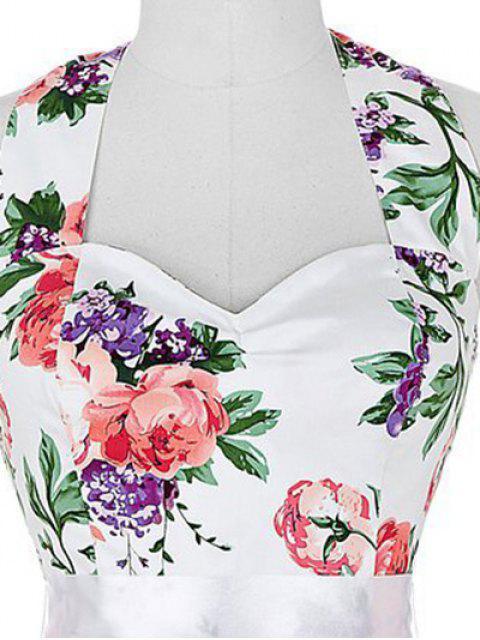 hot Full Floral Halter Vintage Dresses - COLORMIX 2XL Mobile