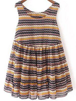 Striped Tiered Sundress - Blue L
