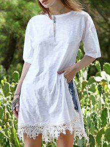 Side Vent Lace Hem Tee Dress - White L