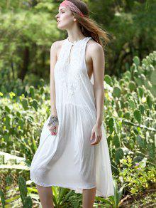 Sin Cuello Blanca Vestido Suelta Mangas Hundiendo M Rebordear Blanco p7SwRwq