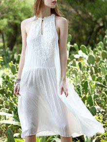 Branco Solta Beading Mergulhando Neck Vestido Sem Mangas - Branco S