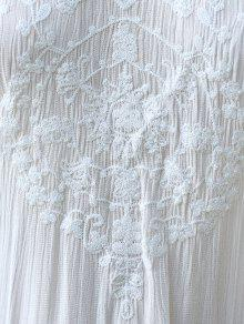 Vestido Suelta Hundiendo Cuello Rebordear Blanco Mangas Blanca M Sin I6wqHUw