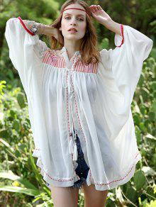 Retro Embroidered Collarless Lantern Sleeve Blouse - White L