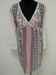 Lace Splice Plunging Neck Bohemian Dress - S