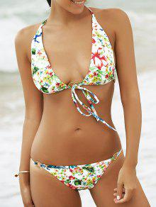 Alluring Halter Tropical Print Women's Bikini Set - S
