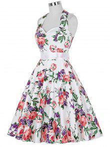 Full Floral Halter Vintage Dresses - 2xl