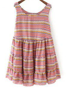 Striped Tiered Sundress - Red M