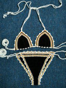 De Punto Negro Cabestro Conjunto Del Bikini - Negro
