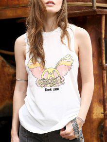 Buy Fitting Letter Print Jewel Neck Tank Top - WHITE M