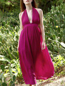 Backless Halter Neck Empire Waist Long Dress - Peach Red Xl