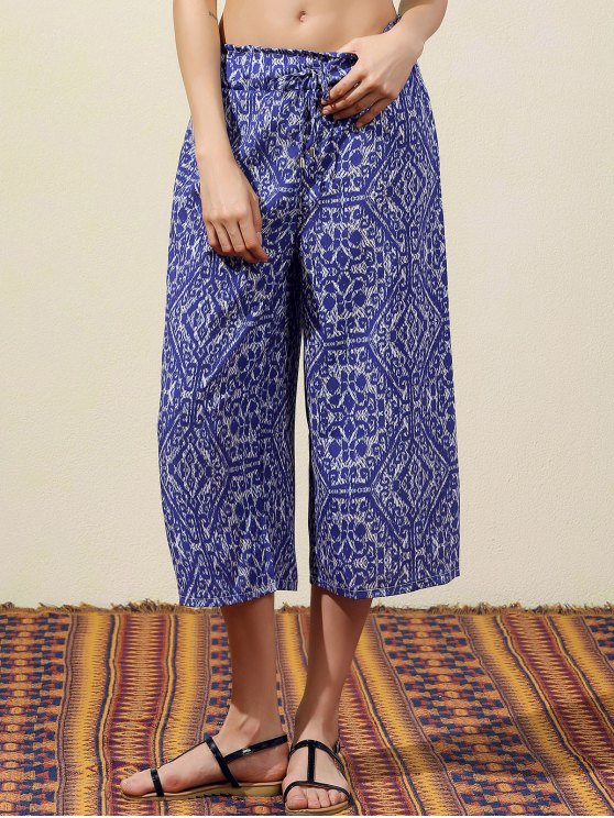 women Blue Vintage Print Wide Leg Pants - BLUE S