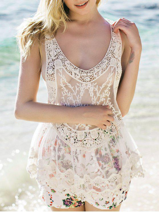 chic Sheer Crochet Tank Top - WHITE ONE SIZE