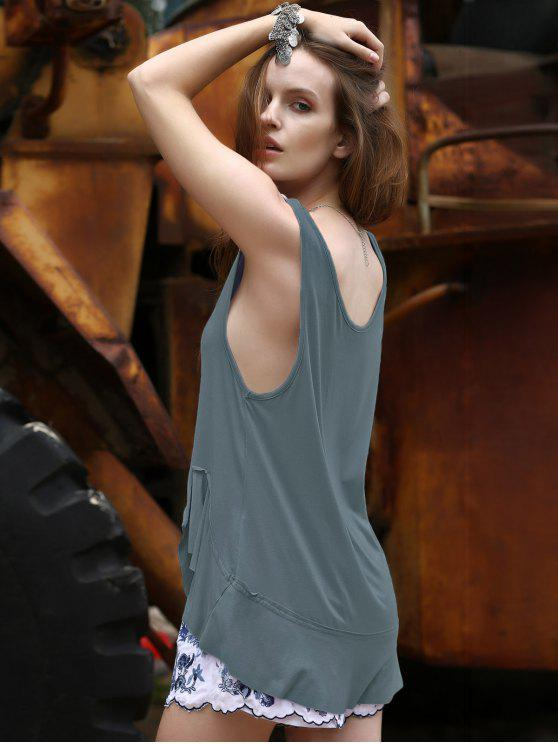 Lose Solid Color Flounce Rüschen Scoop Neck Tank Top - Blaugrau S