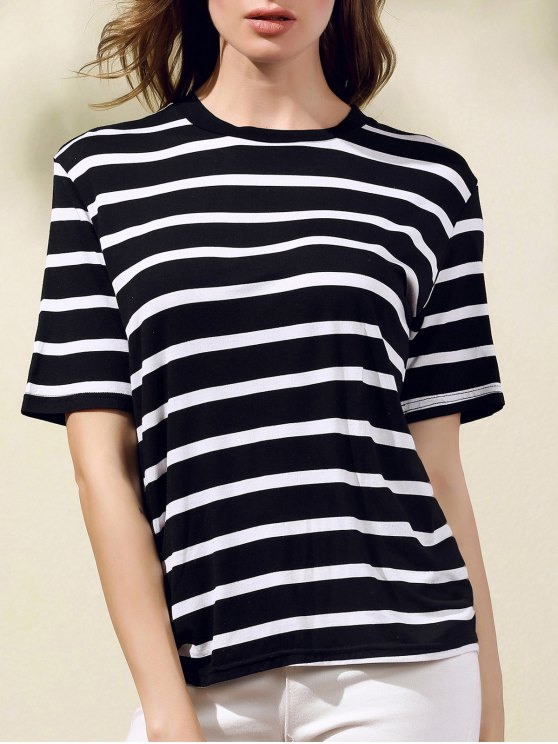 Imprimir rayas cuello redondo manga corta de la camiseta - Negro S