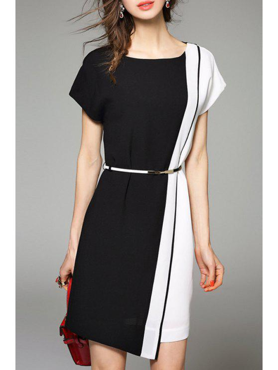 792733c8dc11a 31% OFF] 2019 Color Block Short Fitted Work Dress In WHITE AND BLACK ...