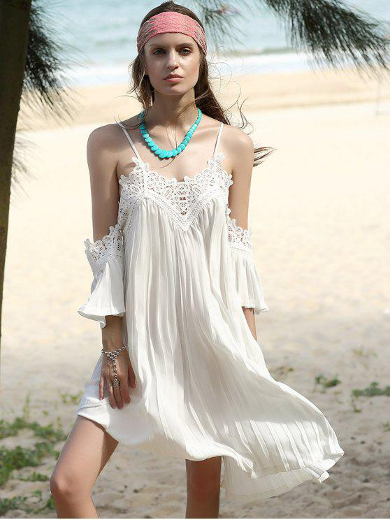 outfit Pleated Cami Lace Spliced White Chiffon Dress - WHITE S
