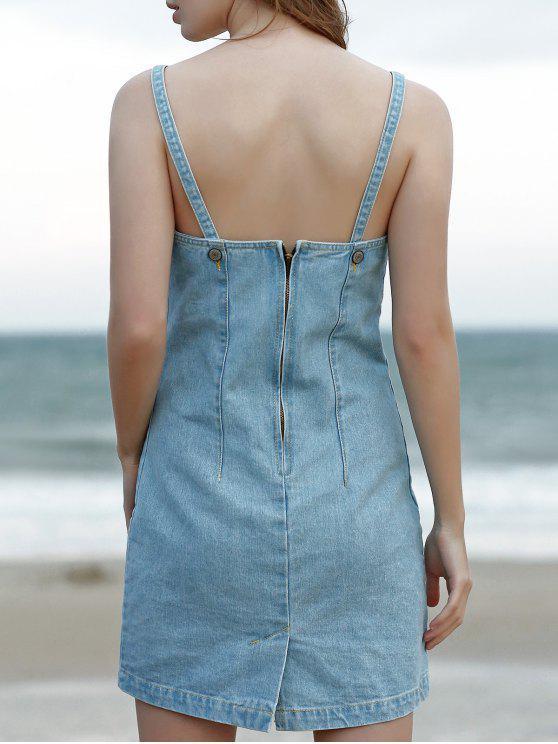 30 Off 2020 Mini Pinafore Denim Dress In Light Blue Zaful