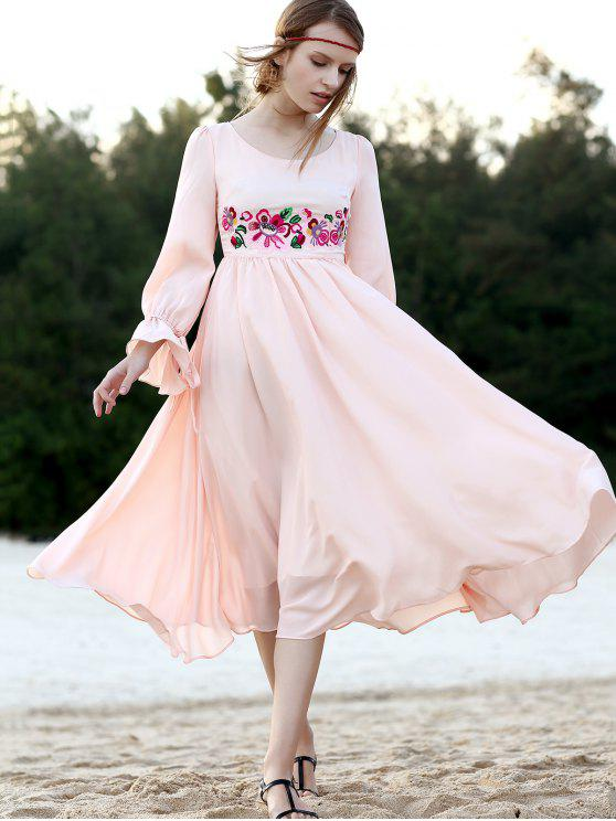 sale Floral Embroidered Round Neck 3/4 Sleeve Dress - PINK M