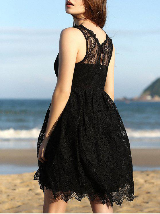 sale Full Lace Round Neck Sleeveless Flare Dress - BLACK XL