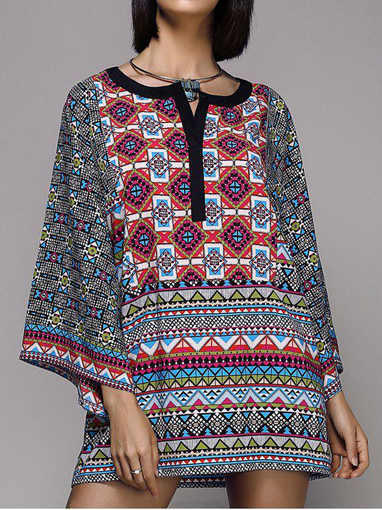 Large Sleeve Printed Peasant Top - Multicolore S