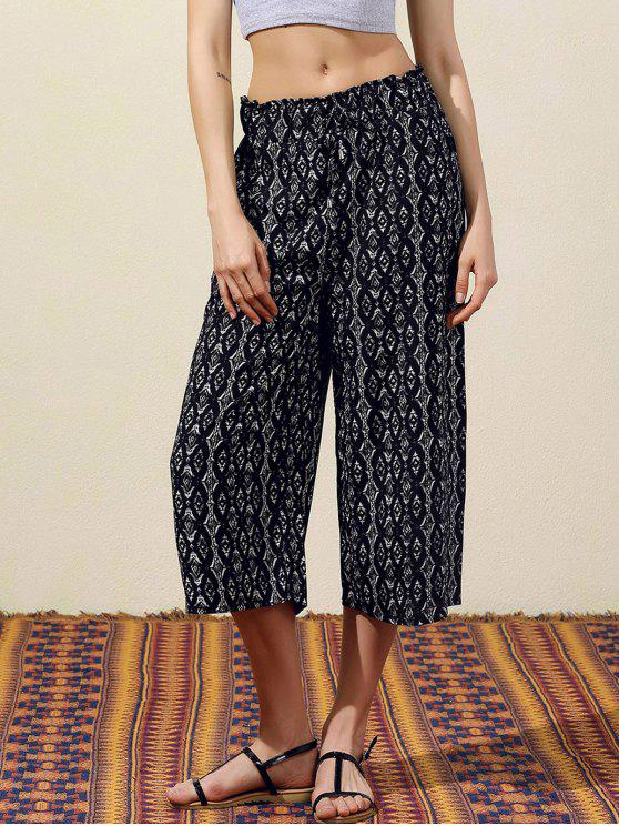 fancy Geometric Print Wide Leg Capri Pants - BLACK S