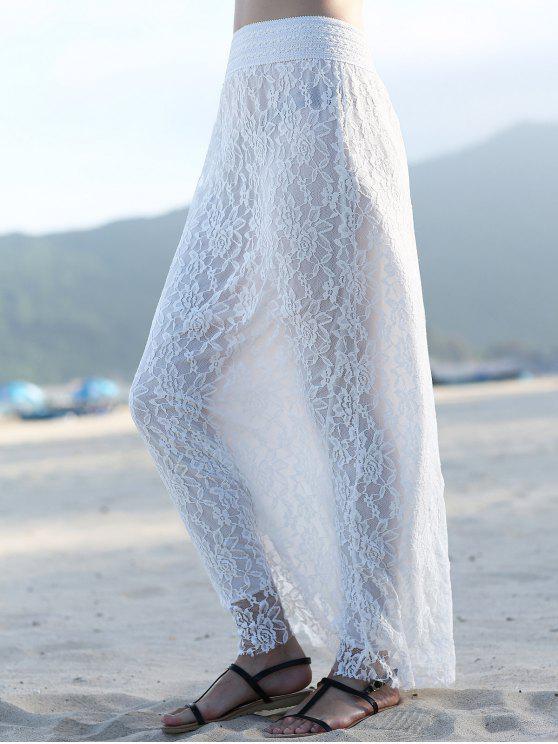 latest Full Lace High Waist A Line Skirt - WHITE XL