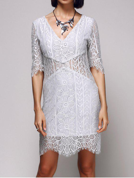 affordable V-Neck Bodycon Lace Dress - LIGHT GRAY M