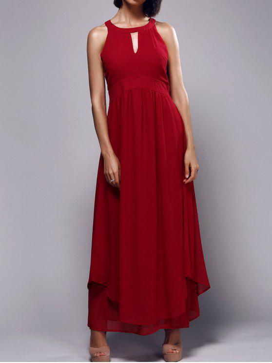 مطوي الثقب المفتاح العنق عالية مخصر فستان ماكسي - أحمر XL