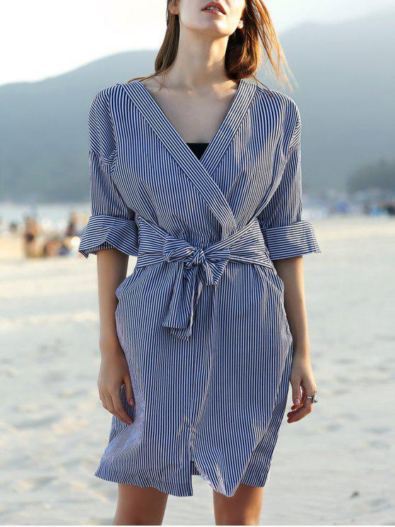 Striped Belted col en V robe à manches longues - Blanc et Noir XL