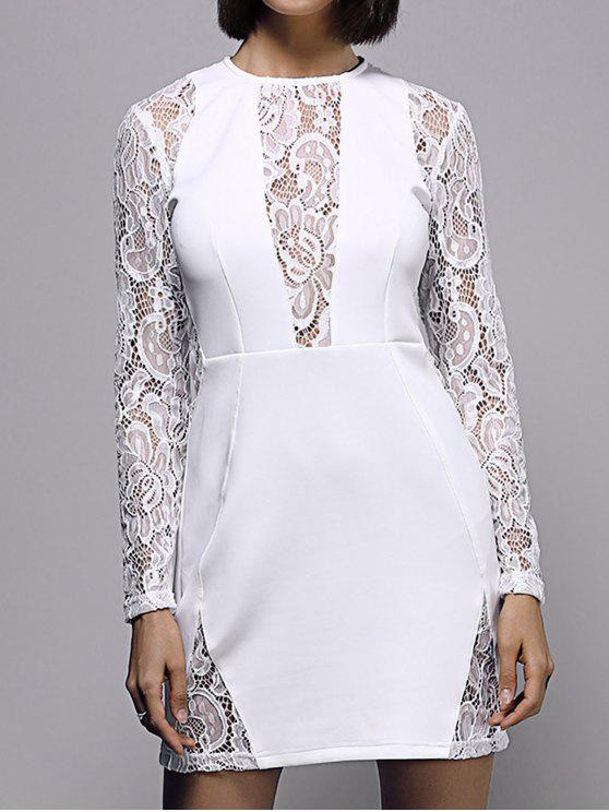 unique White Lace Spliced Round Neck Long Sleeve Dress - WHITE S