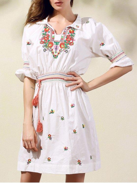Estilo étnico bordado cuello de la camisa de vestir de manga mitad - Blanco S