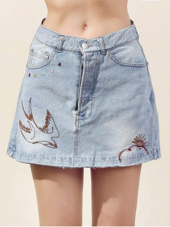 Bordado Bleach lavado de mezclilla mini falda - Azul Claro L