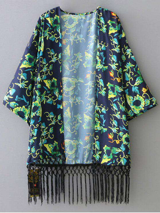 trendy Green Floral 3/4 Sleeve Kimono Blouse - GREEN S