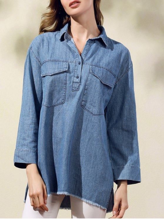 latest Two Pockets Oversized Denim Shirt - BLUE S