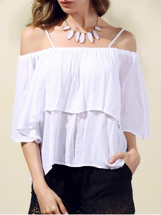 Balza Cami fuori dalla spalla camicetta - Bianco L