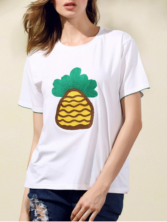 Piña camiseta bordada - Blanco S
