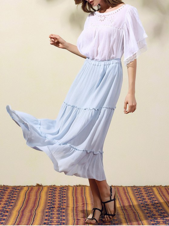womens Crinkly Tiered Long Skirt - LIGHT BLUE M