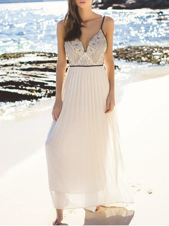affordable Elegant Embroidered Pleated Chiffon Flowing Dress - OFF-WHITE S