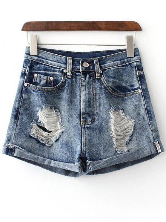 Hemming agujero de pantalones cortos de mezclilla - Marina de Guerra XL