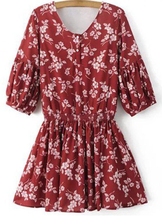 V-فستان طبع الزهور بالكمين المتوسطين و الياقة - أحمر L