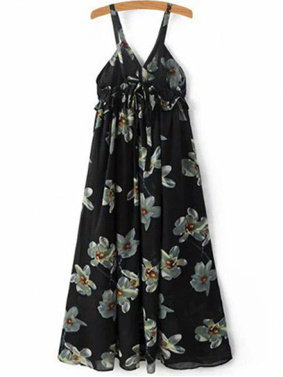 trendy Floral Print Cami A-Line Dress - BLACK L