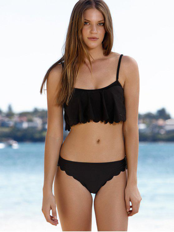shop Black Cami Ruffles Bikini Set - BLACK M