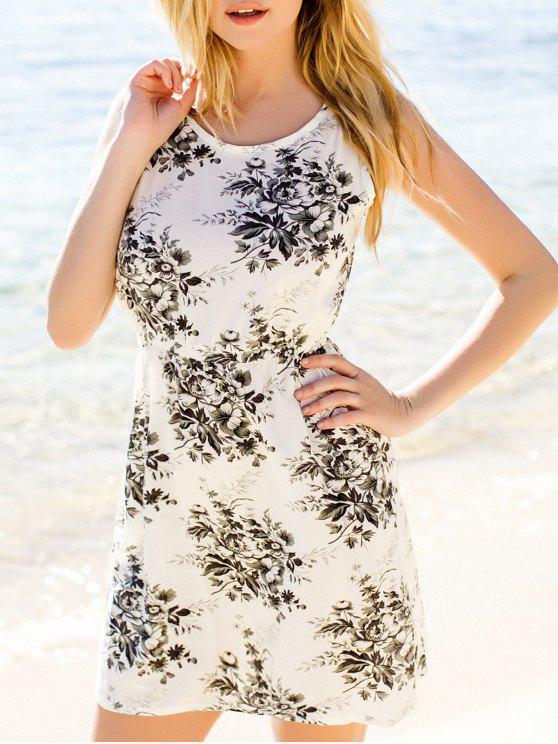 fashion Flower Printed Waisted Mini Dress - DUN XL