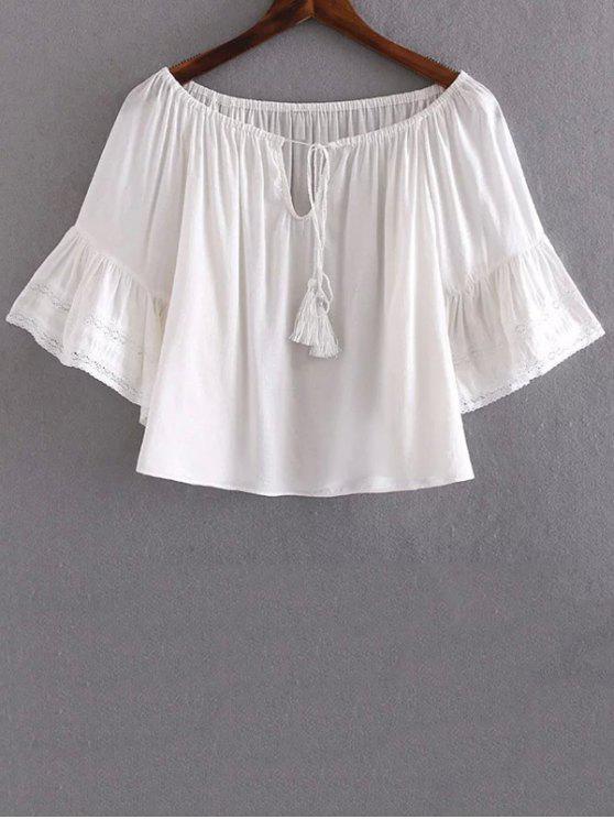 buy Lace Splice V Neck Half Sleeve Blouse - WHITE S