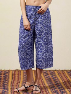 Blue Vintage Print Wide Leg Pants - Blue L