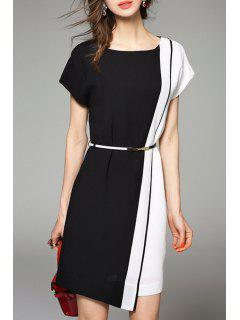 Color Block Short Work Dress - White And Black M