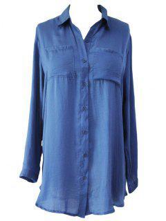 Shirt Collar Solid Color Long Sleeve Shirt Dress - Blue